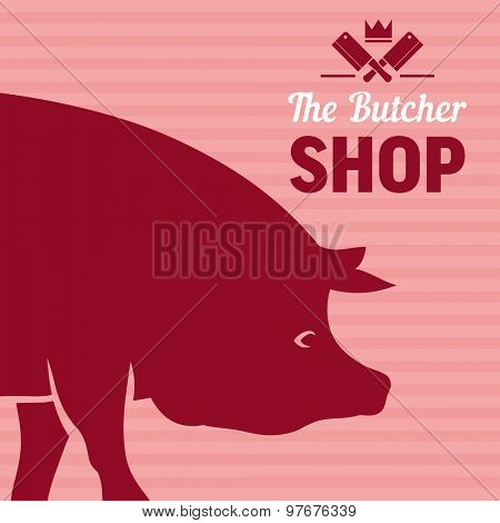 Butcher shop sign with silhouette of pig, vector background