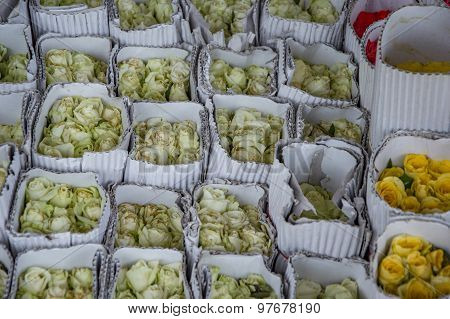 Bunches Of Roses Wrapped With Paper