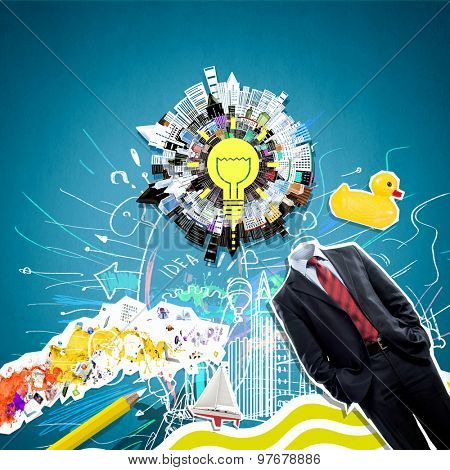 Concept of refreshment with light bulb instead of businessman head