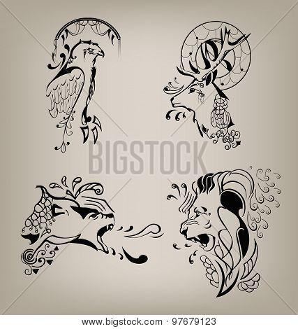 set of patterns of wild animals