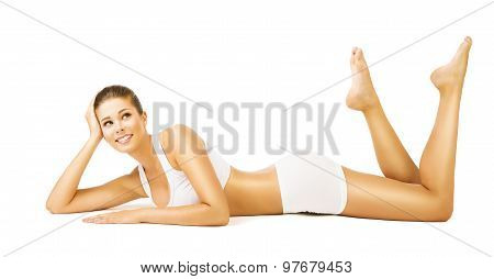 Woman Body Beauty, Girl In White Cotton Underwear, Young Smiling Model Lying On Stomach