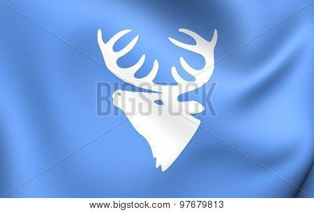 Flag Of Hitra Municipality, Norway.