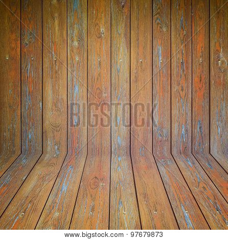 Old Wooden Room Interior, Brown Background