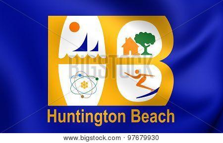 Flag Of Huntington Beach City, California, Usa.