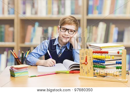 School Kid Education, Student Boy Studying Books, Little Child In Glasses, Abacus Clock