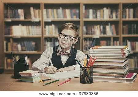 School Kid Education, Student Child Write Book, Little Boy In Glasses, Vintage Classroom