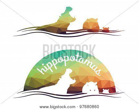 Animal of wildlife ( Hippo ) Vector low poly design