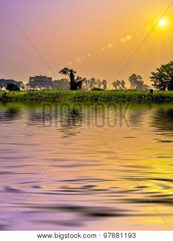 Surface Rippled Of Water And Nature Background