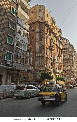 Residential  District Street In Alexandria Downtown With Cars And Taxi On The Road
