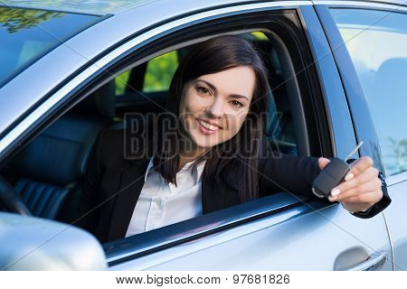 Driving Concept -happy Smiling Woman With Car Key