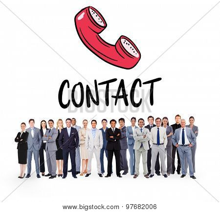Business people standing up against contact doodle