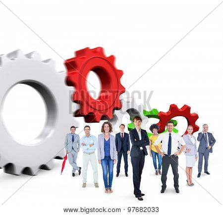 Business team against white and red cogs and wheels