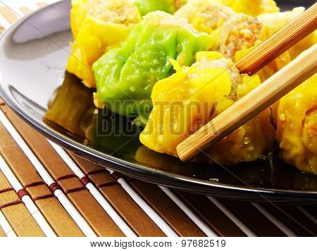 Close Up Stream Dim Sum Chinese Food Cooking Dim Sum Concept
