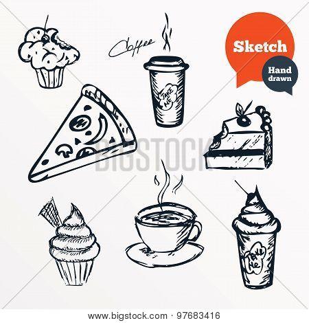 Coffee cup and hot tea, milkshake drinks.