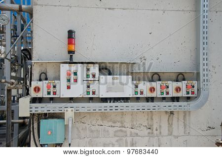 Control panel with light indicators