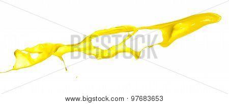 Yellow Paint Splash On White Background