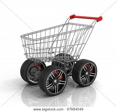 Shopping Cart With Big Car Wheel On The White Background. Fast Shopping Concept. Trolley For Auto Pa