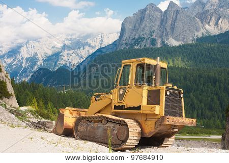 Bulldozer In The Picturesque Scenery
