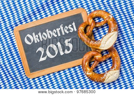Chalkboard With A Bavarian Decor - Oktoberfest 2015