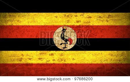 Flags Uganda With Dirty Paper Texture. Vector