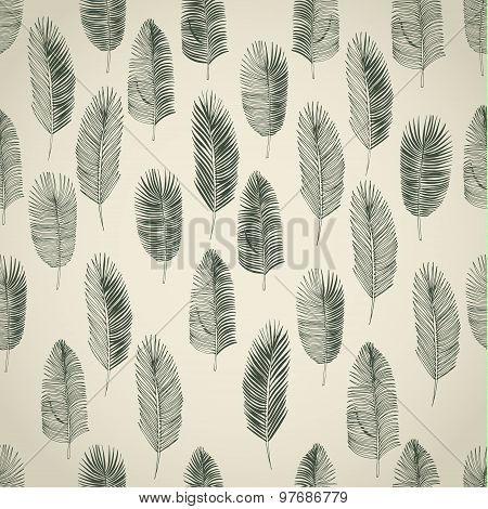 Set of hand drawn palm leaves
