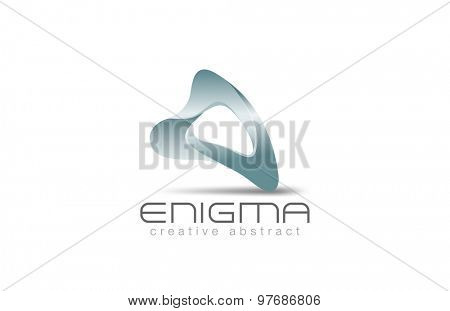 3D Logo Abstract shape for any company vector design template. Logotype for furniture, luxury business, technology, architect