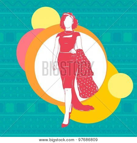 Illustration of a retro young model girl on colorful stylish background.