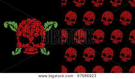 Jolly Roger Of Roses. Flower Skull. Pattern Skulls. Vector Illustration