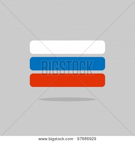 Russia Flag, Stylized Russian Flag Of Geometrical Elements. Vector Illustration
