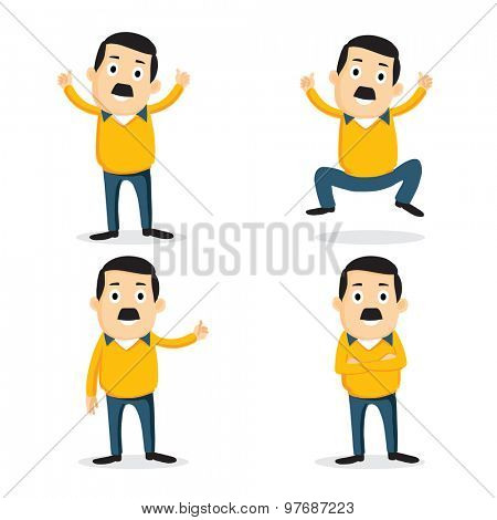 Happy Young business Character in different poses on white background.
