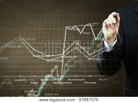 Businessman hand drawing business graphs on media screen