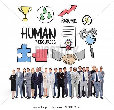 Business people standing up against human resources doodle