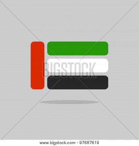 Uae Flag, Stylized Flag Of United Arab Emirates From Geometry. Vector Illustration