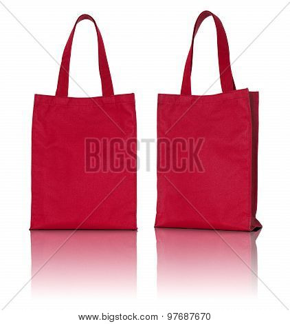 Red Fabric Bag On White Background
