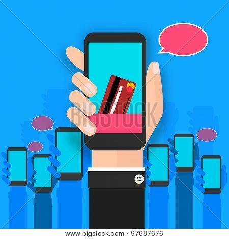 Illustration of human hand holding smart phone on shiny sky blue background.