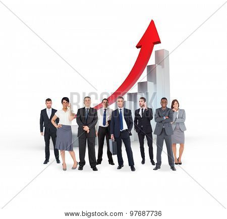 Business team against red arrow and bar chart