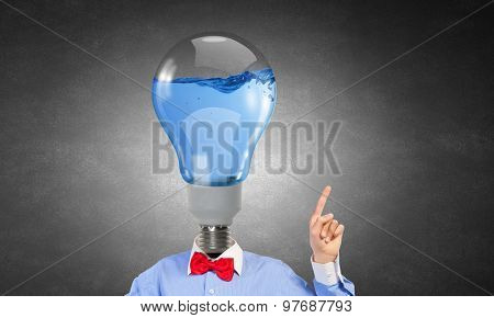 Headless man with light bulb instead of head