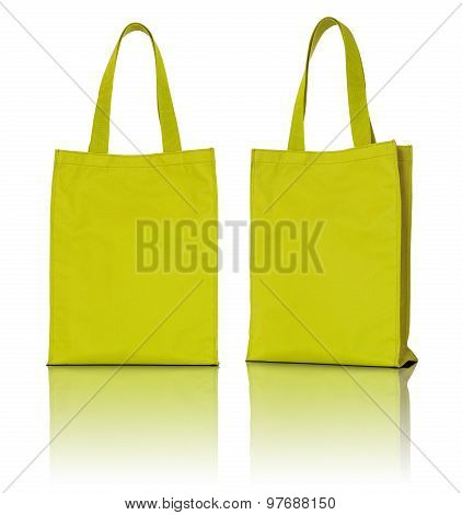 Yellow Fabric Bag On White Background