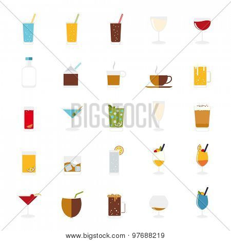 Isolated drinks and beverages icons vector set. Collection of 25 flat design drink and beverage vector icons on white background