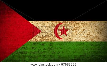 Flags Western Sahara With Dirty Paper Texture. Vector