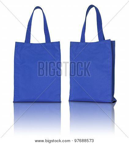 Blue Fabric Bag On White Background