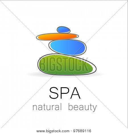 SPA - template logo for Spa lounge, beauty salon, massage area, yoga center, natural cosmetics etc.. The balancing cairn - a symbol of harmony, tranquility and relaxation.
