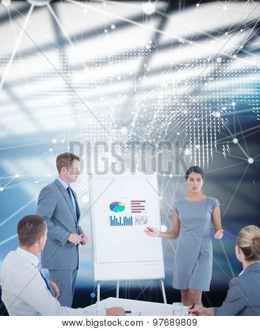 Business people doing statistics presentation against glowing world map on black background