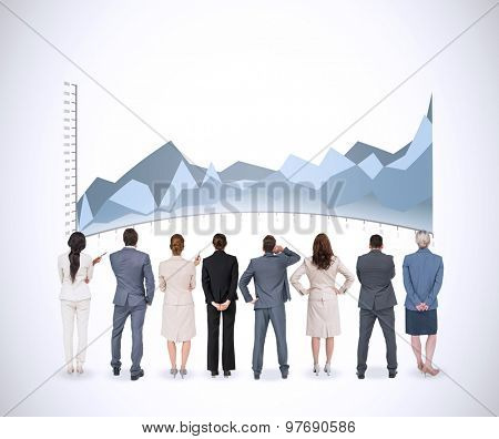 Business team against white background with vignette