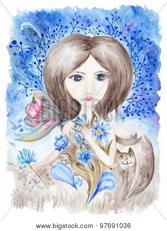 Fairy Girl with Flowers Watercolor Illustration