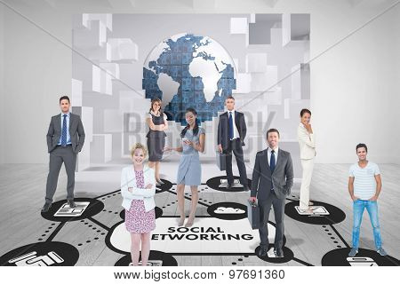 Business team against white room with abstract picture of earth