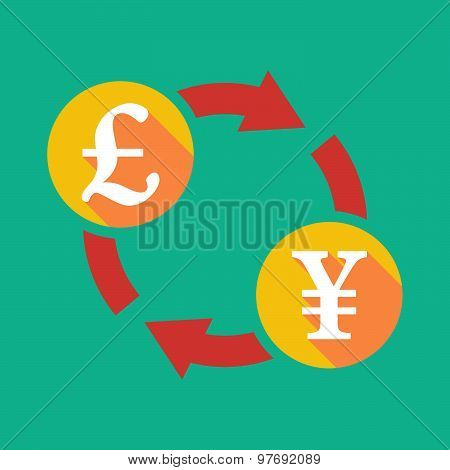 Exchange Sign With A Pound Sign And A Yen Sign