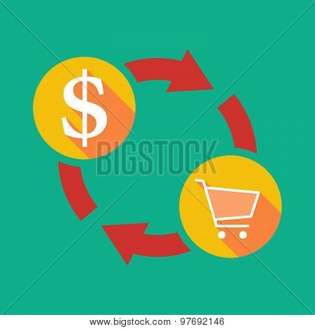 Exchange Sign With A Dollar Sign And A Shopping Cart