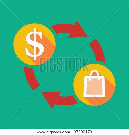 Exchange Sign With A Dollar Sign And A Shopping Bag
