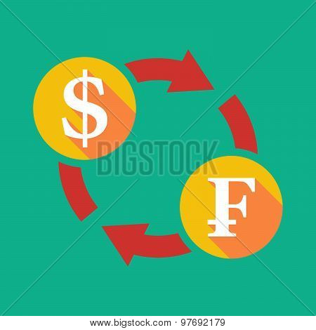 Exchange Sign With A Dollar Sign And A Swiss Franc Sign